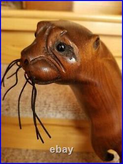 Tom Taber Rare River Otter Carving Wood Sculpture Art Signed 15 River Gamblor