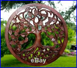 Tree of life Wall Sculpture Plaque Panel Carved wood Boho Decor Balinese Art