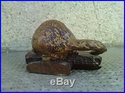 Trés belle sculpture bois LOUTRE 19 siecle carved wood otter art populaire