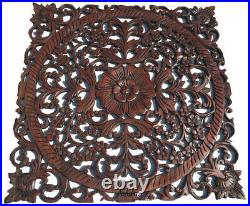 Tropical Wood Carved Floral Asian Home Decor Wall Plaque Sculpture Square 23