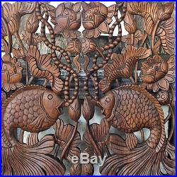 Twin Fish in Lotus New Wood Carving Home Wall Panel Mural Decor Art Statue gtahy