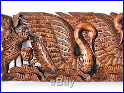 Twin Swan in Lotus Wood Carving Home Wall Panel Mural Decor Art Statue FS gtahy