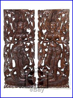 Twin Thep Pha Nom New Wood Carving Home Wall Panel Mural Decor Art Statue gtahy