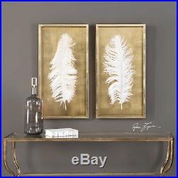 Two XXL 34 Gold Leaf Shadow Box Large Feather Under Glass Modern Wall Art