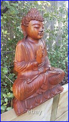 UNIQUE Balinese art Buddha statue wood carved FENG-SHUI traditional/boho/retro
