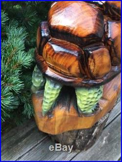 UNIQUE! Chainsaw Carved TURTLE White Pine Wood Sculptures Rustic Log Home Decor