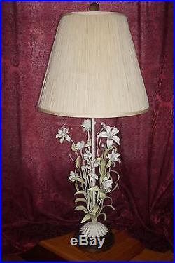 VTG Metal Floral Sculpture Table Lamp Calla Lily Carved Wood Base Flower Art