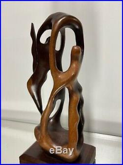 VTG Modernist Sculpture Mid Century Wood Carved figure Art figures abstract