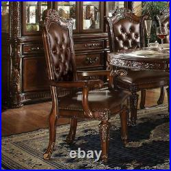 Vendome Wood carving Nailhead Trim Button tufted Dining Arm Chair Set of 2