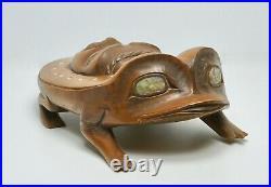 Very Fine Northwest Coast Kwakwaka wakw People Frog Carving