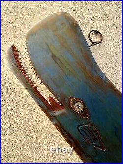 Vintage 28 Nautical Killer Whale Fish Sign Wood Cedar Carving Bait Shop Cabin
