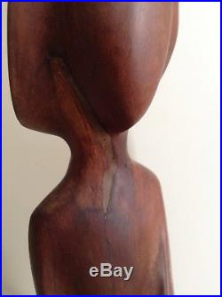 Vintage Abstract Wood Sculpture Statue Carving Signed Unknown Modernist Latin
