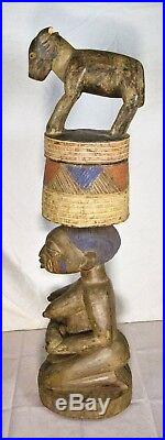 Vintage African Hand Carved Wood Sculpture Two Piece Art