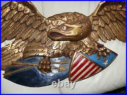 Vintage American Folk Art Eagle With Shield, Made By Artistic Carving Co. Boston
