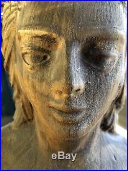 Vintage Antique Nautical Mermaid Ships Figurehead Wood Carved Sculpture Statue