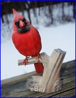 Vintage Art Wooden Male Cardinal Bird Hand Carved Wood Figure Sculpture