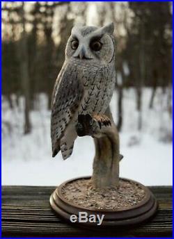 Vintage Art Wooden Owl Bird Hand Carved Wood Figure Sculpture