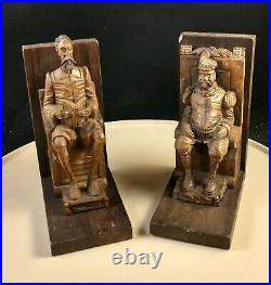Vintage Carved Pair Sancho Panza And Don Quixote Bookend Sculptures Carved