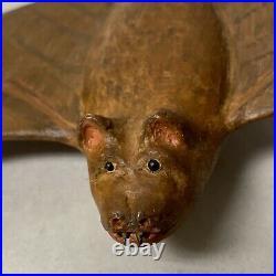 Vintage Carved Wood Winged Bat Folk Art Sculpture Signed, 8x4.5