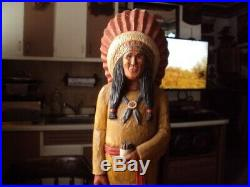 Vintage Circa 1979 Cigar Store Indian Hand Carved Wood Signed & Dated BEAUTIFUL