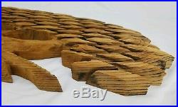 Vintage Cypress Wood Wall Sculpture Tree of Life Carved Relief MCM 55.5 x 18