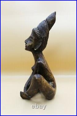 Vintage Ebony Wood Hand Carved Statue Figurine African Woman Sculpture Folk Art