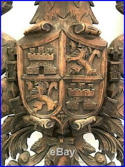 Vintage Hand Carved Coat Of Arms Wood Wall Sculpture Golden Fleece & Dbl Eagles