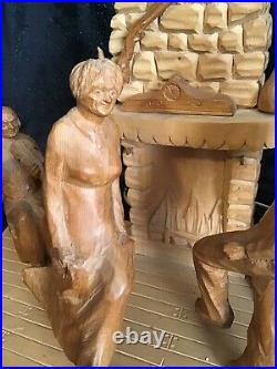 Vintage Hand Carved Wood Folk Art G. Fortin Figural Family Sculpture Table Lamp