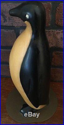 Vintage Hand Carved Wood Penguin Folk Art Sculpture Brass Base