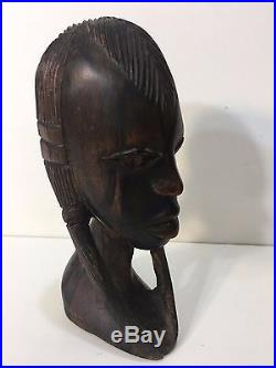 Vintage Hand Carved Wood Woman Sculpture African Art Head Statue Figure Bust