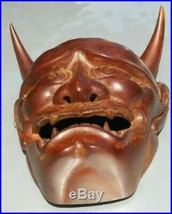 Vintage Japanese hand carving Wood Mask Horned Evil Demon Noh Hannya Oni mask