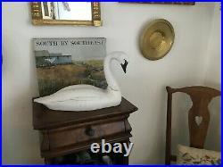 Vintage Large Hand Carved Wood Swan