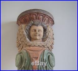 Vintage Large Wood Carved Angel Cherub Santos Sculpture Wall Hanging Shelf