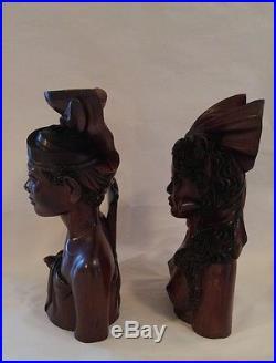 Vintage M D Panti Bali Pr Statue Bust Man Woman Wedding Carved Wood Sculptures