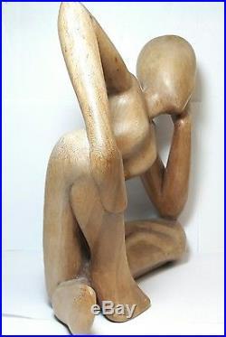 Vintage MID Century Modern Modernist Carved Wood Wooden Nude Woman Sculpture