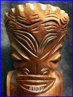 Vintage Mid Century Hand Carved Heavy Wood Hawaiian Tiki Sculpture Statue 8.5