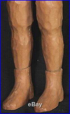 Vintage Mid-Century Modern Sculpture Wood Carving Rocket Man Astronaut 1950s OLD