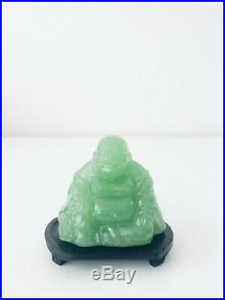 Vintage Miniature Carved Jade Chinese Buddha Statue Sculpture With Wood Stand 3H