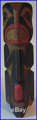 Vintage Northwest Coast Indian Hand Carved & Painted Cedar Wood Bear Totem