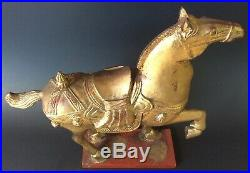 Vintage Tang Dynasty Style War Horse Gilded Wood Carving Chinese Gold Sculpture