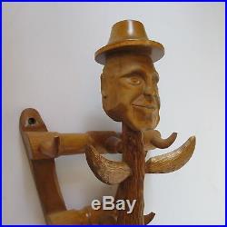 Vintage Wood Carving Outsider Art Folk Expressionism Abstract Sculpture Rack Mod