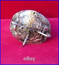Vintage/antique figa hand carved sculpture large wood silver brass metal