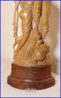 Vintage hand carved India sandalwood wood lovers Rada Krishna sculpture statue