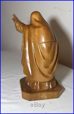 Vintage religious Nun hand carved wood sculpture statue figure Santos folk art