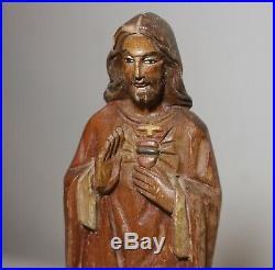 Vintage religious hand carved wood folk art Jesus Christ statue sculpture santos