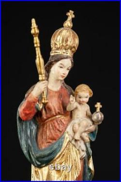 Virgin Mary Child Jesus Sculpture Madonna Christ Wood Carving Statue 11.4