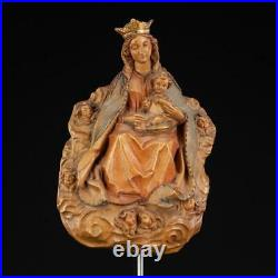 Virgin Mary w Child Jesus Wall Icon Madonna with Christ Statue Wood Carving