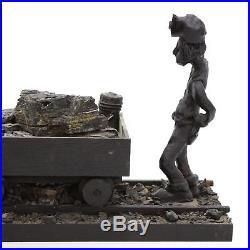 Vtg 22 Coal Miner withDonkey Cart Long American Folk Art Sculpture Wood Carving