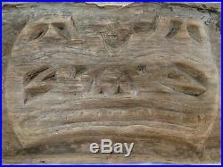 Vtg CARVED CEDAR HAIDA BEAR ART PANEL 32x16 SCULPTURE Wood Totem Pole PNW NATIVE