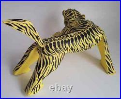 Vtg Large Pouncing Tiger Oaxacan Alebrije Carved Wood Sculpture Mexican Folk Art